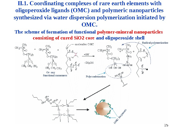 25 The scheme of formation of functional polymer-mineral nanoparticles consisting of cured Si. O 2 core