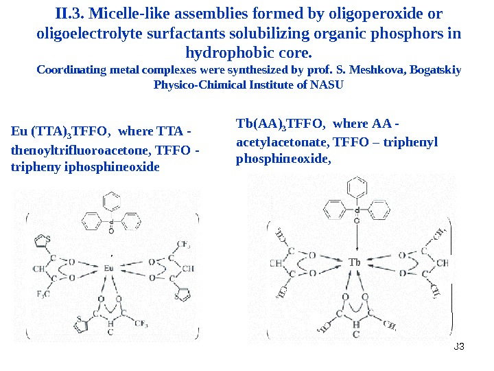 33 II. 3. Micelle-like assemblies formed by oligoperoxide or oligoelectrolyte surfactants solubilizing organic phosphors in hydrophobic