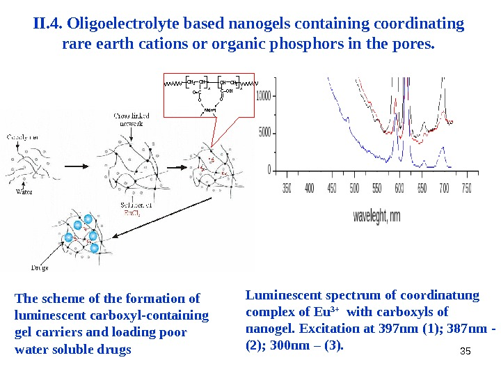 35 II. 4.  Oligoelectrolyte based nanogels containing coordinating rare earth cations or organic phosphors in