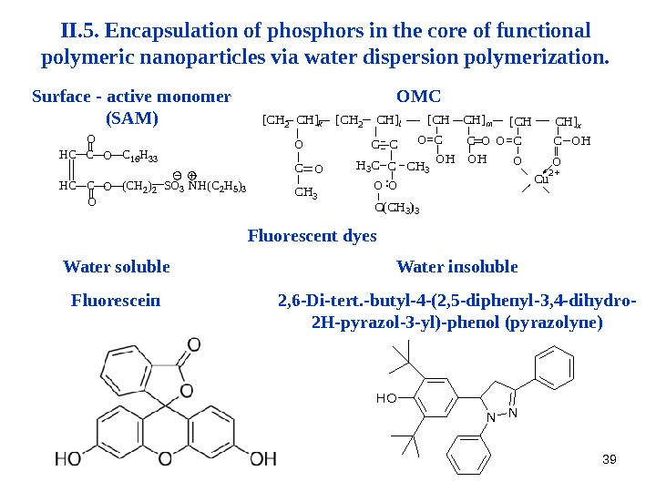 39 II. 5. Encapsulation  of phosphors in the core of functional polymeric nanoparticles via water