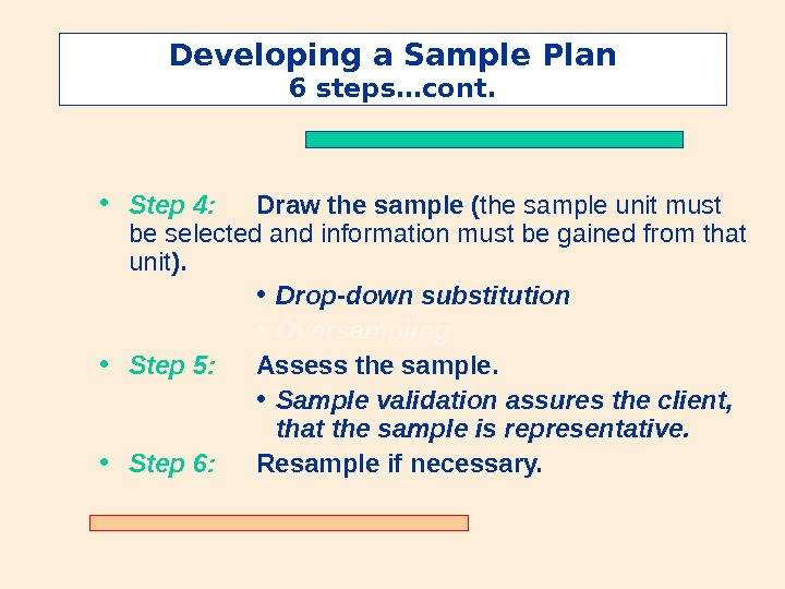Developing a Sample Plan 6 steps…cont.  • Step 4: Draw the sample ( the sample