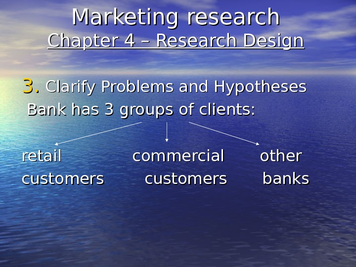 Marketing research Chapter 4 – Research Design 3. 3. Clarify Problems and Hypotheses  Bank has
