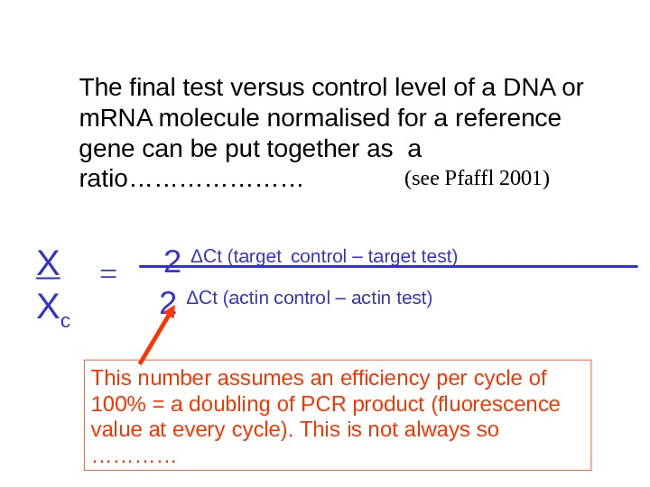 The final test versus control level of a DNA or m. RNA molecule normalised for a