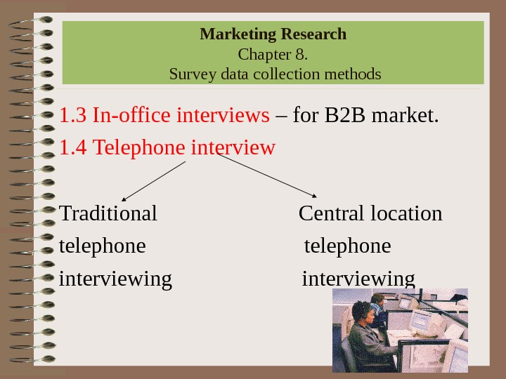 1. 3 In-office interviews – for B 2 B market. 1. 4 Telephone interview Traditional