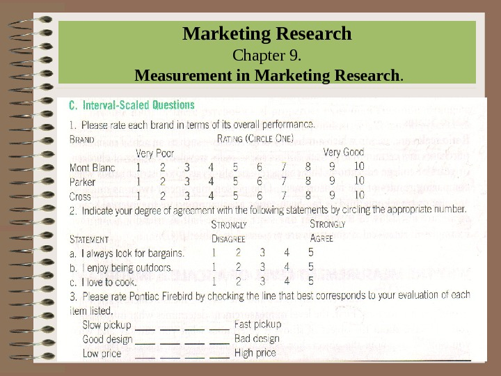 Marketing Research Chapter 9.  Measurement in Marketing Research.