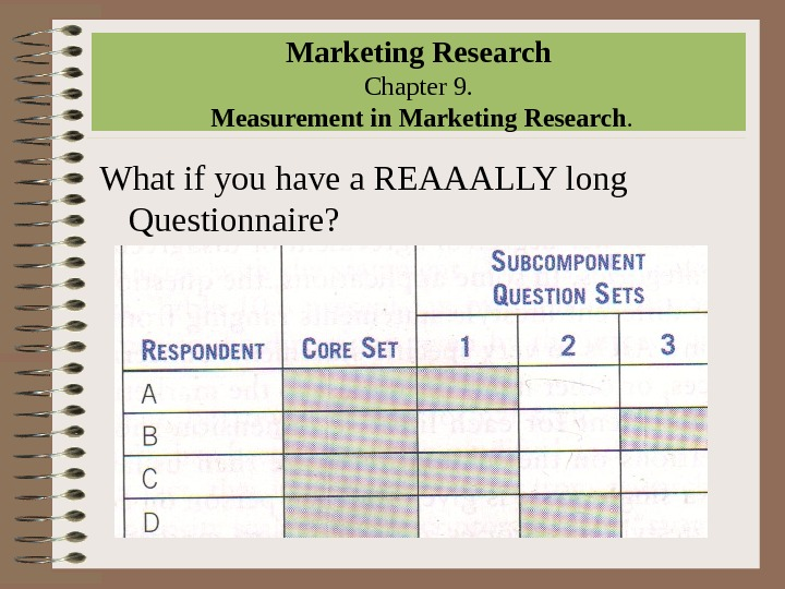Marketing Research Chapter 9.  Measurement in Marketing Research. What if you have a REAAALLY long