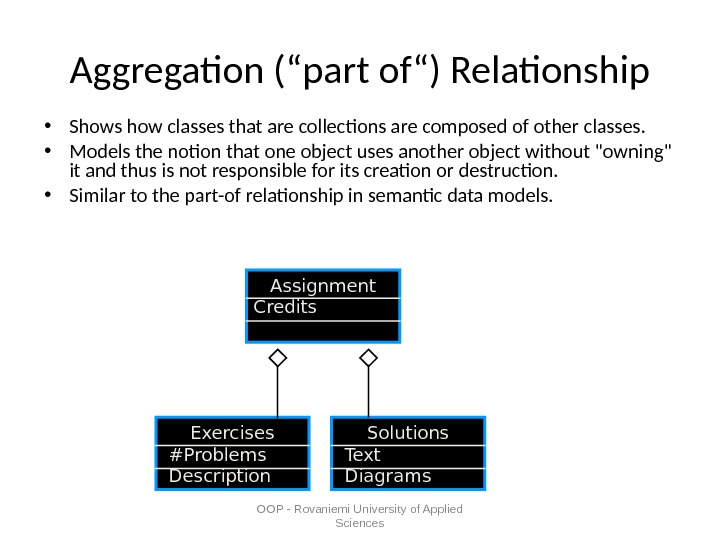 "OOP - Rovaniemi University of Applied Sciences. Aggregation (""part of"") Relationship • Shows how classes that"