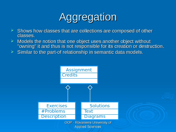 OOP - Rovaniemi University of Applied Sciences. Aggregation Shows how classes that are collections are composed