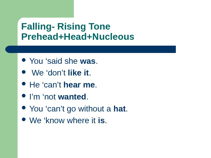 Falling- Rising Tone Prehead+Head+Nucleous  You 'said she was. We 'don't like it.  He 'can't