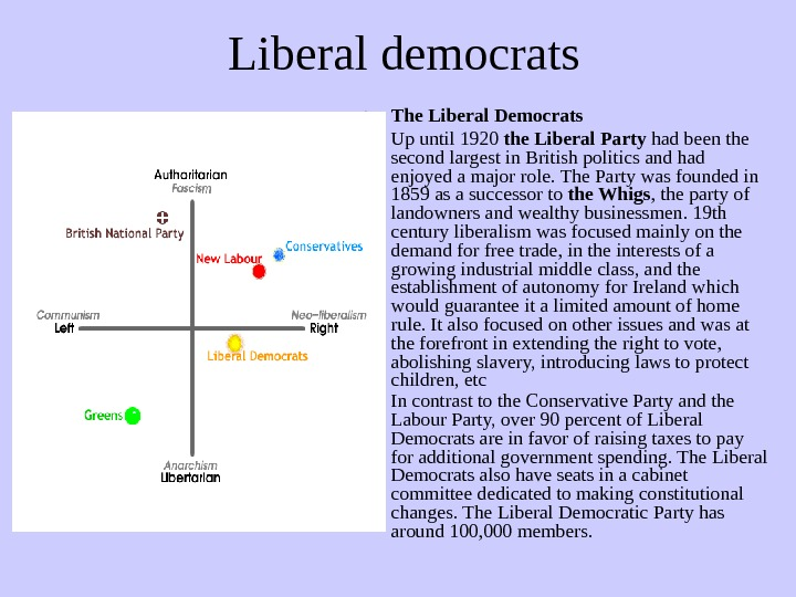 Liberal democrats • The Liberal Democrats • Up until 1920 the Liberal Party had been the