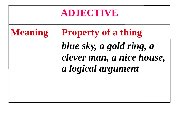 Property of a thing blue sky, a gold ring, a clever man, a nice house,