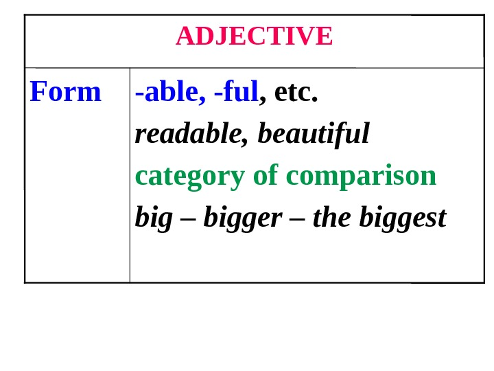-able, -ful , etc. readable, beautiful category of comparison big – bigger – the biggest. Form