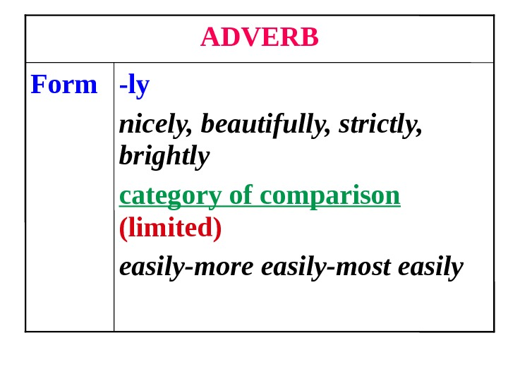 -ly nicely, beautifully, strictly,  brightly category of comparison  (limited) easily-more easily-most easily. Form ADVERB