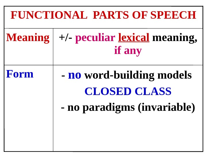 - no word-building models CLOSED CLASS - no paradigms (invariable)Form +/- peculiar  lexical meaning,