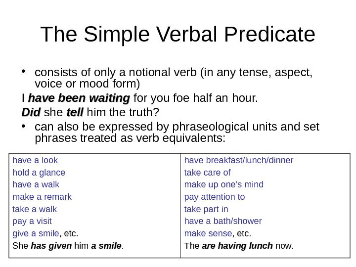 The Simple Verbal Predicate • consists of only a notional verb (in any tense, aspect,