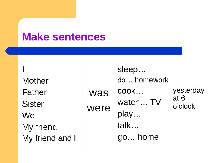 Make sentences I Mother Father Sister We My friend and I was were sleep… do… homework