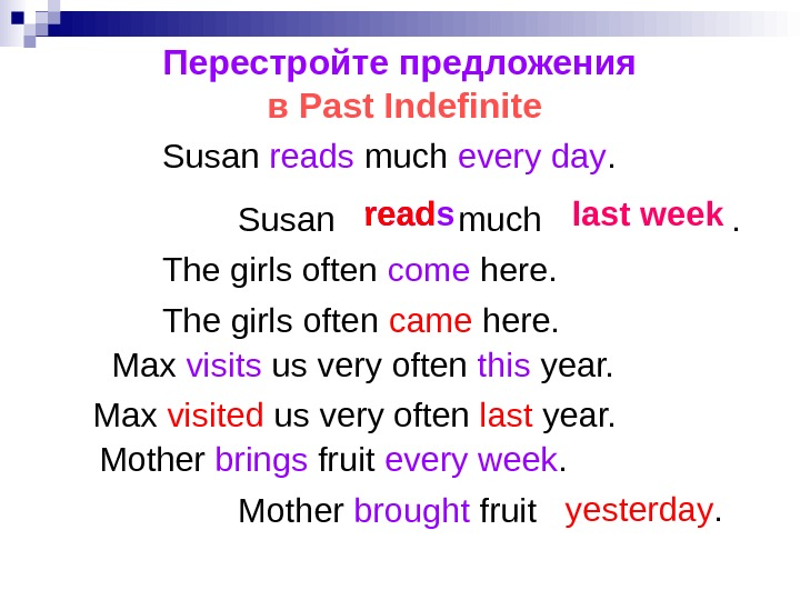Перестройте предложения в Past Indefinite Susan reads much every day. reads read last week