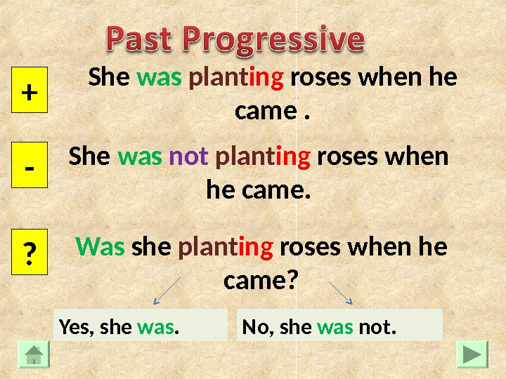 She was  plant ing roses when he came. + - ? She was  not