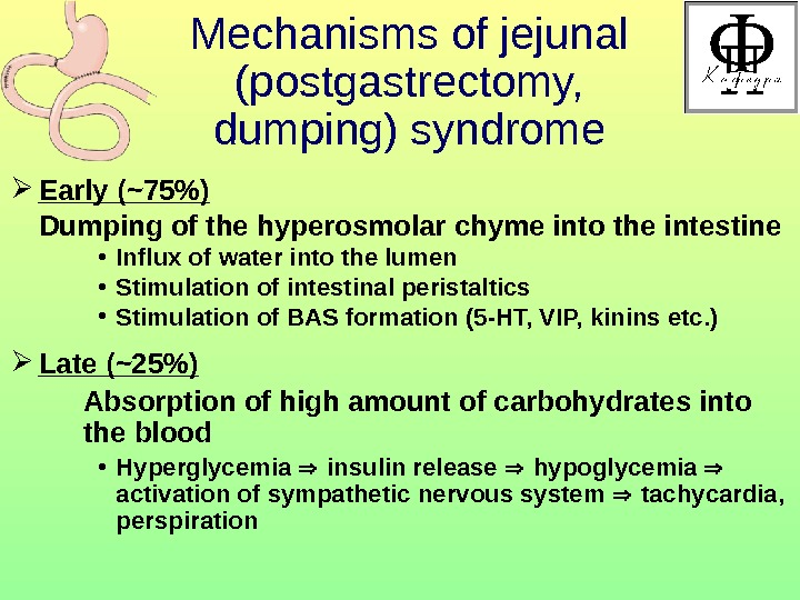 Mechanisms of jejunal (postgastrectomy,  dumping) syndrome Early ( ~75 ) Dumping of the