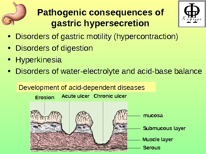 Pathogenic consequences of gastric hypersecretion • Disorders of gastric motility (hypercontraction) • Disorders of