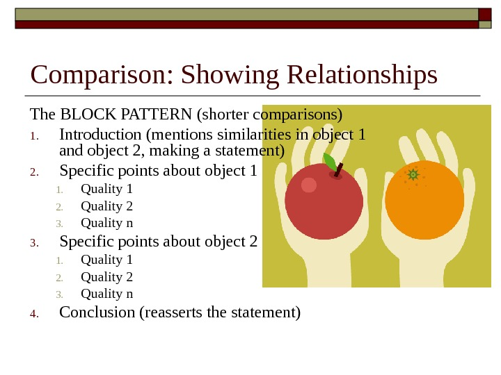Comparison: Showing Relationships The BLOCK PATTERN (shorter comparisons) 1. Introduction (mentions similarities in object