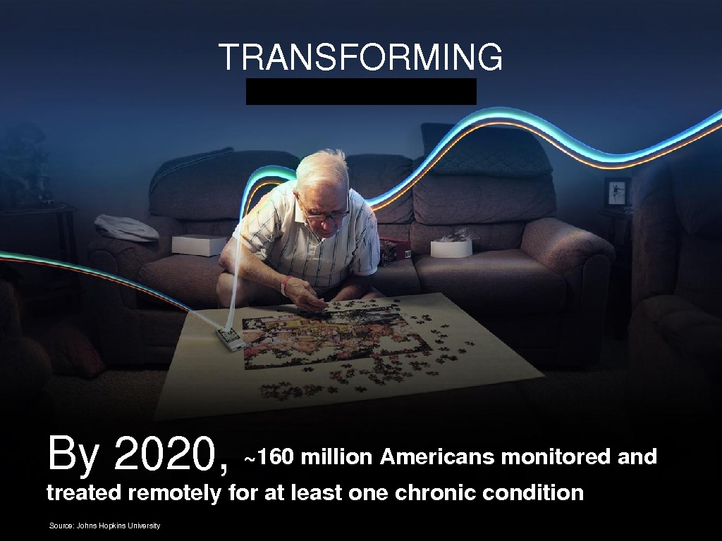 By 2020, ~160 million. Americansmonitoredand treatedremotelyforatleastonechroniccondition TRANSFORMING Source: Johns. Hopkins. University