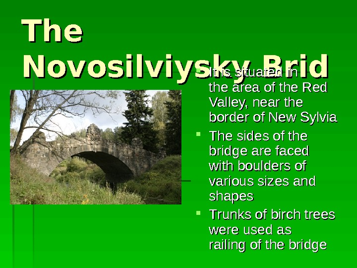 The Novosilviysky. Brid gege II t is situated i n n the area of