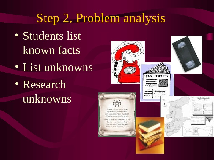 Step 2. Problem analysis  • Students list known facts • List unknowns • Research unknowns