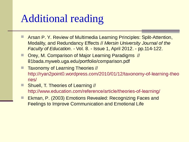 Additional reading A rsan P.  Y.  Review of Multimedia Learning Principles: Split-Attention,