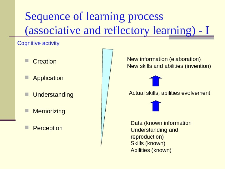 Sequence of learning process (associative and reflectory learning) - I Creation Application Understanding Memorizing Perception Data