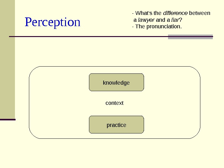 Perception context practiceknowledge - What's the difference between  a lawyer and a liar
