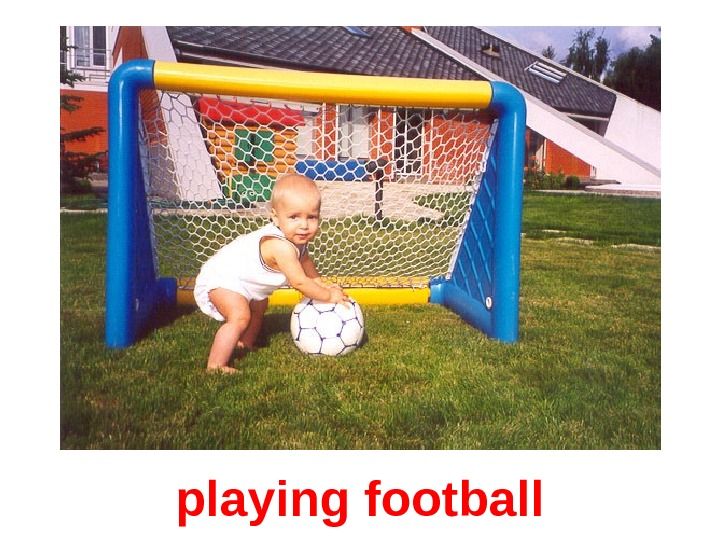 playing football