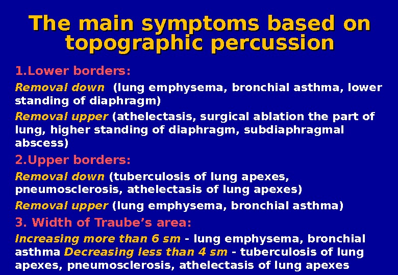 The main symptoms based on topographic percussion 1. Lower borders :  Removal  down (