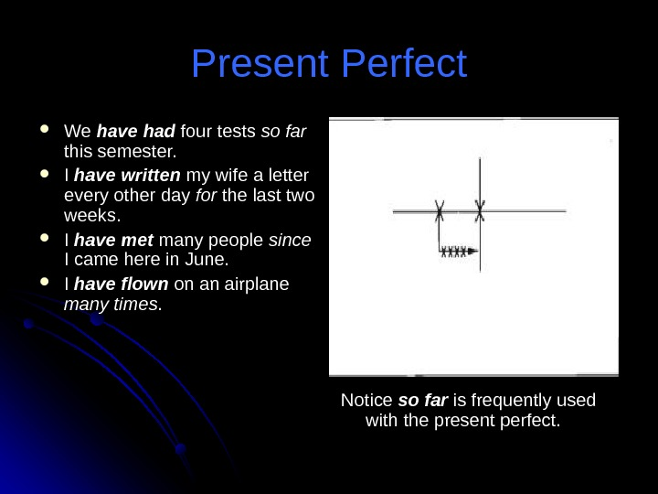 Present Perfect We We have had four tests so far  this semester.  I I