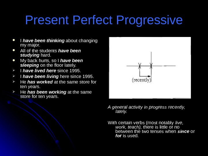Present Perfect Progressive I I have been thinking about changing my major.  All of the
