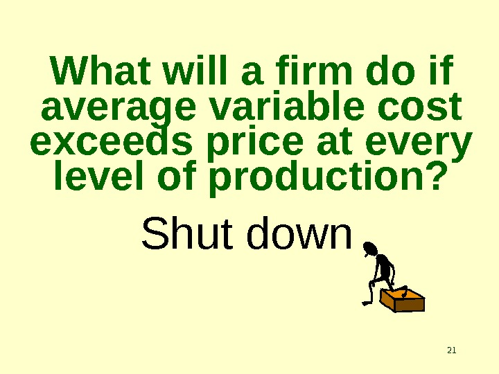 21 What will a firm do if average variable cost exceeds price at every level of