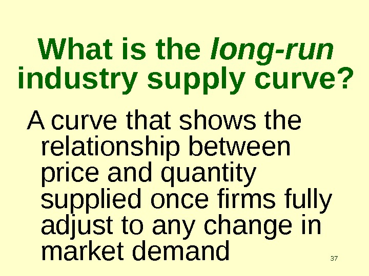 37 What is the long-run  industry supply curve? A curve that shows the relationship between