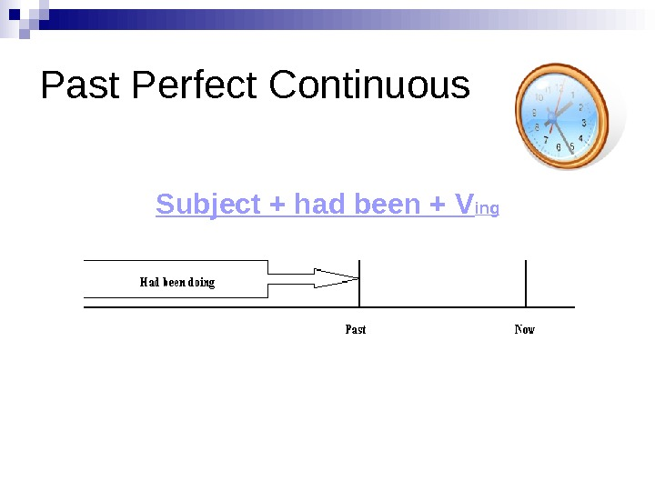 Past Perfect Continuous Subject + had been + V ing