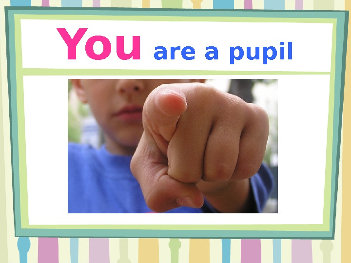You  are a pupil