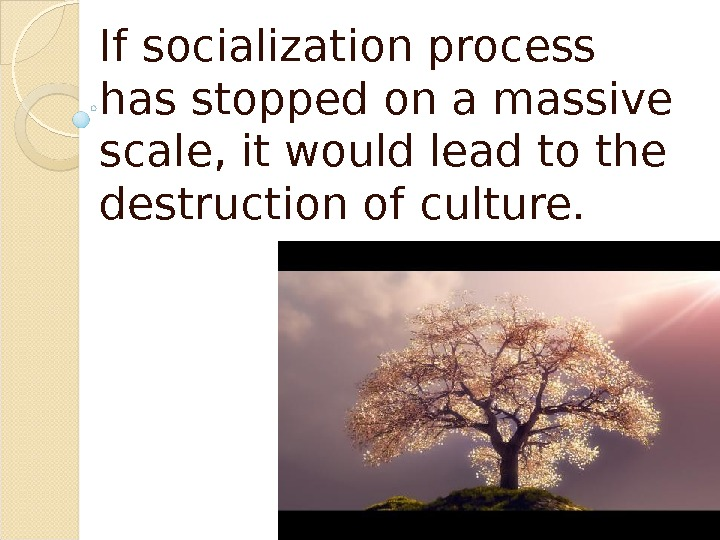 If socialization process has stopped on a massive scale, it would lead to the destruction of
