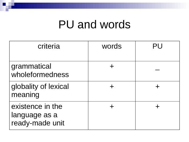 PU and words criteria words PU grammatical wholeformedness + _ globality of lexical meaning