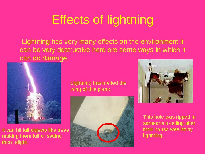 Effects of lightning  Lightning has very many effects on the environment it can