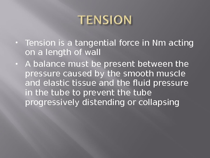 Tension is a tangential force in Nm acting on a length of wall A balance