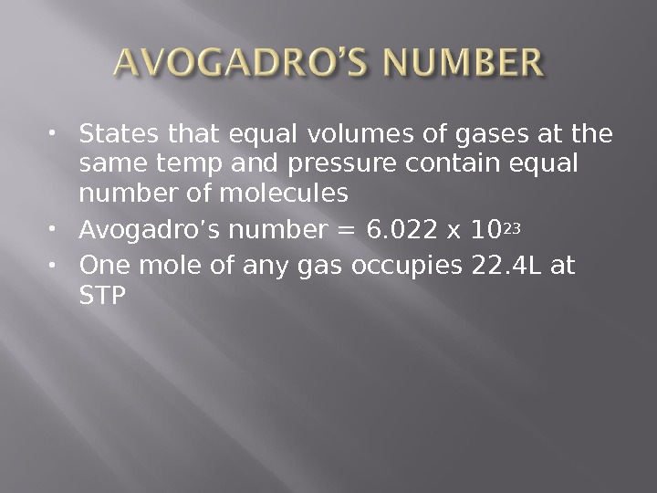 States that equal volumes of gases at the same temp and pressure contain equal number
