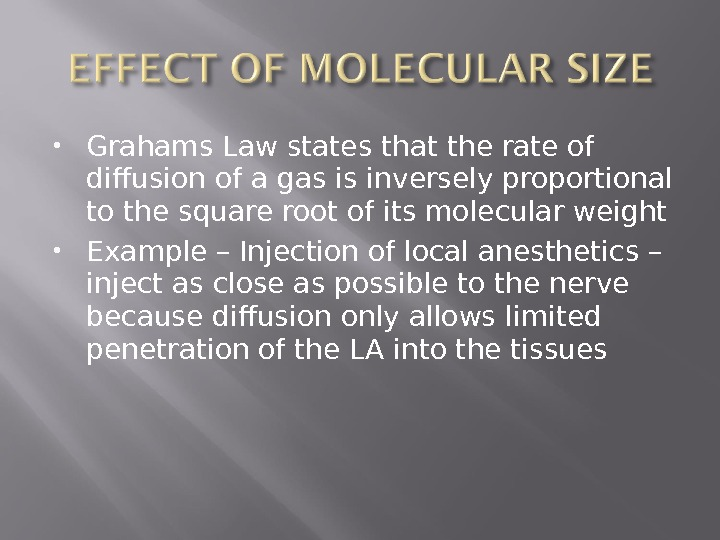 Grahams Law states that the rate of diffusion of a gas is inversely proportional to