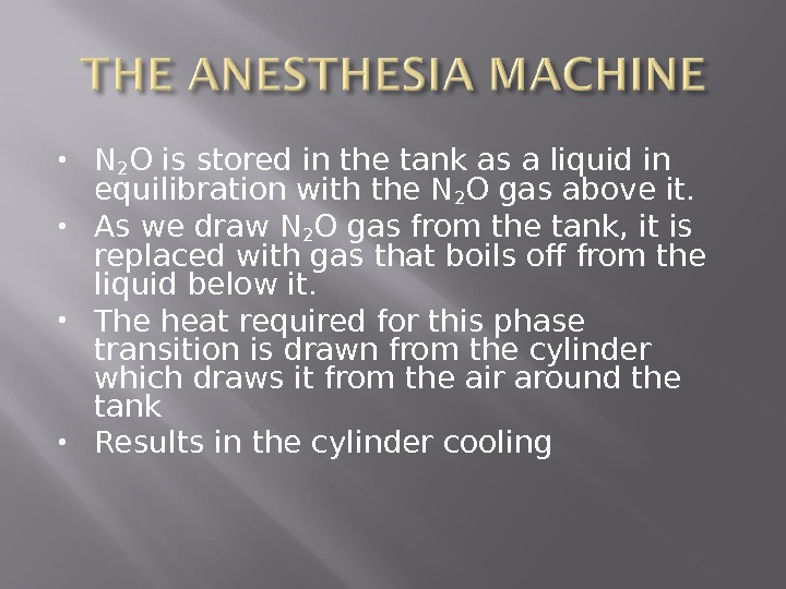 N 2 O is stored in the tank as a liquid in equilibration with the