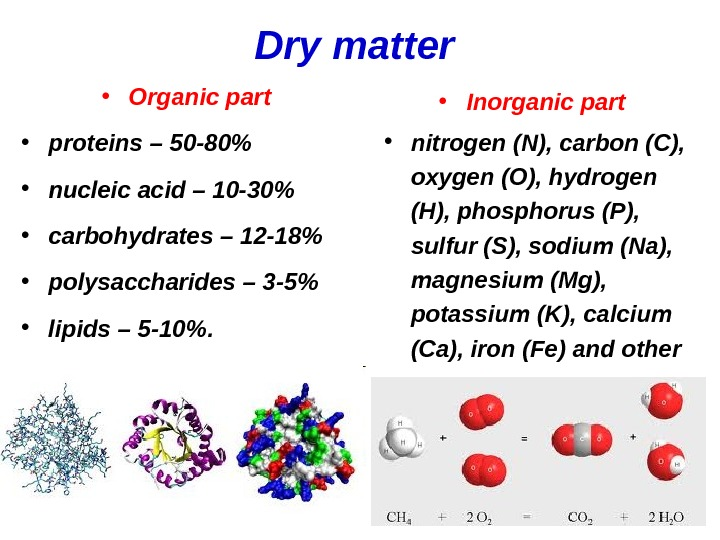 Dry matter  • Organic part  • proteins – 50 -80  • nucleic acid