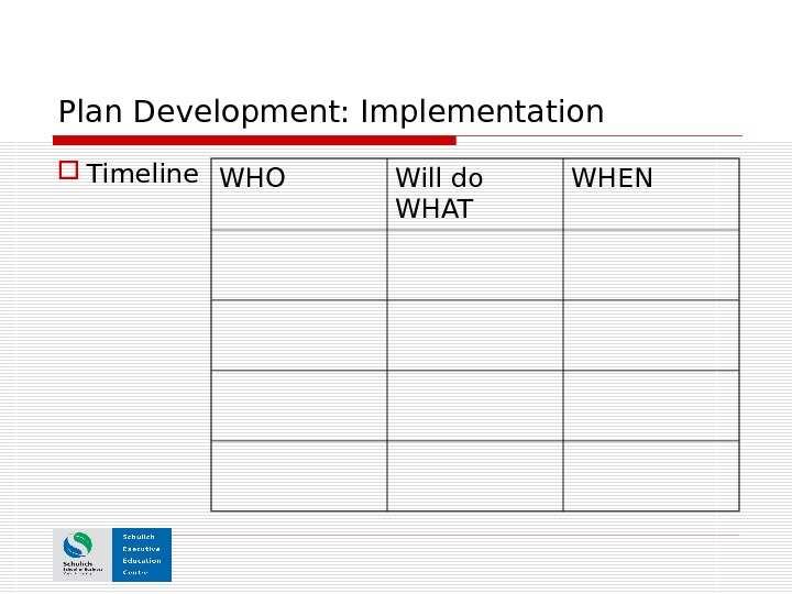 Plan Development: Implementation Timeline WHO Will do WHAT WHEN