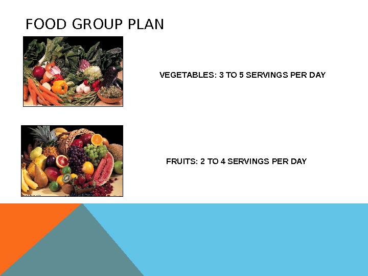 FOOD GROUP PLAN VEGETABLES: 3 TO 5 SERVINGS PER DAY FRUITS: 2 TO 4 SERVINGS PER