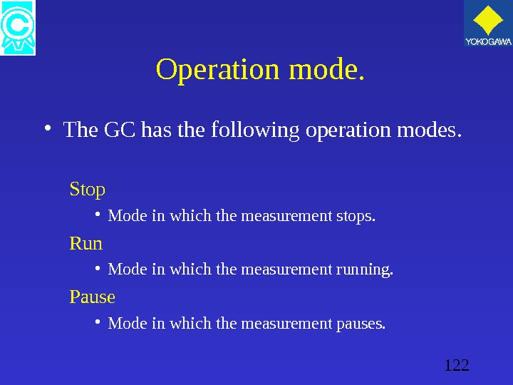 122  Operation mode.  • The GC has the following operation modes. Stop • Mode